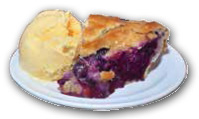 The warm blueberry pie and scoop of ice cream are the perfect way to complete a meal.