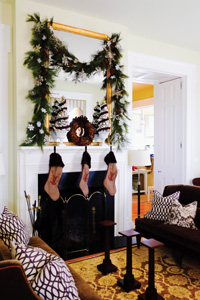 It's not Christmas at Moss Mountain Farm until we hang the stockings. To make the silver topiaries on either side of the wreath I glued ornaments to a styrofoam tree form.
