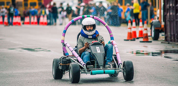 A Student Drives An Electric Vehicle At The 2017 Cooperatives Of Arkansas Rally Photo By Chance Allmon