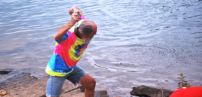 Skipping stones at Greers Ferry Lake